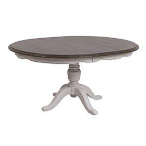 Table ronde extensible en pin blanc opaline vieilli 8 personnes - Château - Visuel n°8