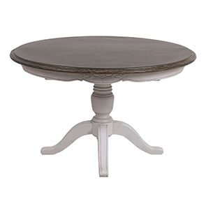 Table ronde extensible en pin blanc opaline vieilli 8 personnes - Château