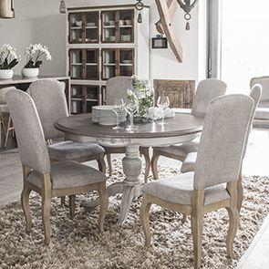 Table ronde extensible en pin 8 personnes - Château