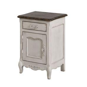 Table de chevet 1 tiroir 1 porte en pin blanc opaline vieilli - Château - Visuel n°1