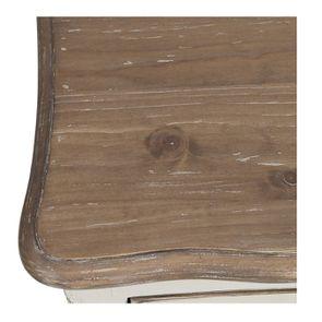 Table de chevet 1 tiroir 1 porte en pin blanc vieilli - Château - Visuel n°10