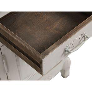 Table de chevet 1 tiroir 1 porte en pin blanc vieilli - Château - Visuel n°12