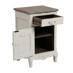 Table de chevet 1 tiroir 1 porte en pin blanc vieilli - Château - Visuel n°3