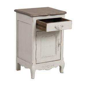 Table de chevet 1 tiroir 1 porte en pin blanc vieilli - Château - Visuel n°4