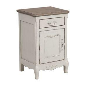 Table de chevet 1 tiroir 1 porte en pin blanc vieilli - Château - Visuel n°5