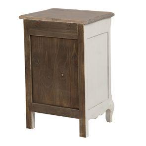 Table de chevet 1 tiroir 1 porte en pin blanc vieilli - Château - Visuel n°7