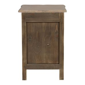 Table de chevet 1 tiroir 1 porte en pin blanc vieilli - Château - Visuel n°8