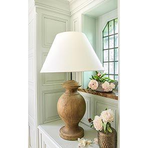Lampe sur pied en bois naturel et lin - Visuel n°3