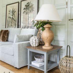 Lampe sur pied en bois naturel et lin - Visuel n°5