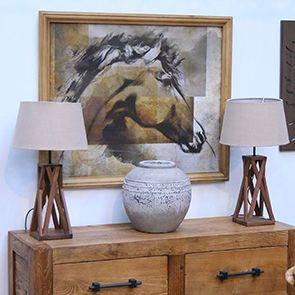 Lampe en bois et lin