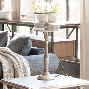 Lampe en bois et métal