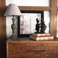Lampe en bois noir et lin