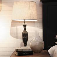 Lampe en bois noir et coton