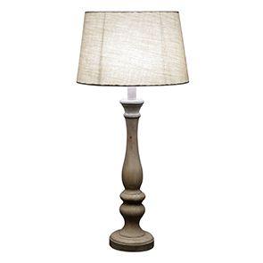 Lampe en bois beige et lin - Visuel n°7
