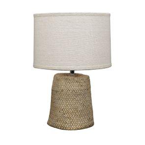 Lampe ciment effet rotin H35