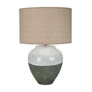 Lampe en céramique blanc cassé et verte