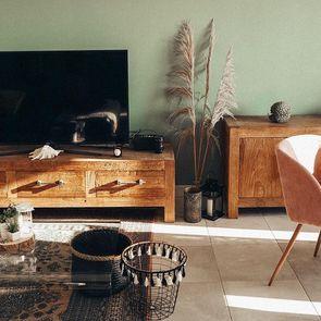 Meuble TV industriel en orme recyclé - Transition