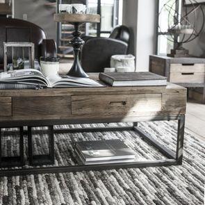 Table basse rectangulaire industrielle avec rangement - Transition - Visuel n°3