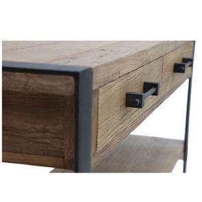 Console industrielle 2 tiroirs en orme recyclé - Transition - Visuel n°10
