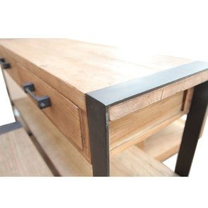 Console industrielle 2 tiroirs en orme recyclé - Transition - Visuel n°12