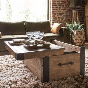 Table basse coffre industrielle en orme recyclé - Transition - Visuel n°3