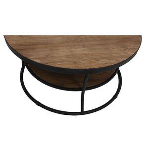 Table basse ronde industrielle en orme recyclé - Transition - Visuel n°7