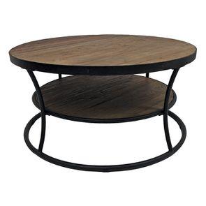 Table basse ronde industrielle en orme recyclé - Transition - Visuel n°6