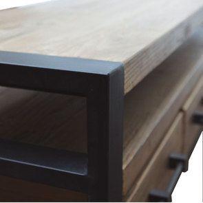 Meuble TV industriel 3 tiroirs en orme recyclé - Transition - Visuel n°11