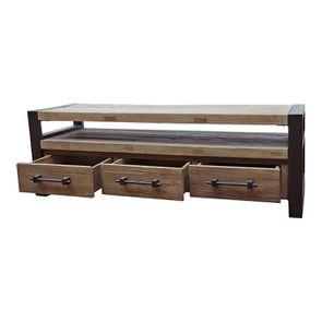 Meuble TV industriel 3 tiroirs en orme recyclé - Transition - Visuel n°4