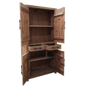 Bibliothèque industrielle 4 portes 2 tiroirs en orme recyclé - Transition - Visuel n°8