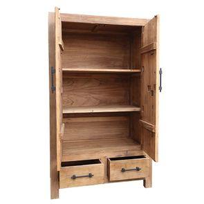 Armoire industrielle 2 portes 2 tiroirs en orme recyclé - Transition - Visuel n°6