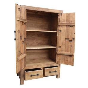 Armoire industrielle 2 portes 2 tiroirs en orme recyclé - Transition - Visuel n°7
