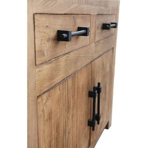 Bas de buffet industriel 2 tiroirs 2 portes en orme recyclé - Transition - Visuel n°8