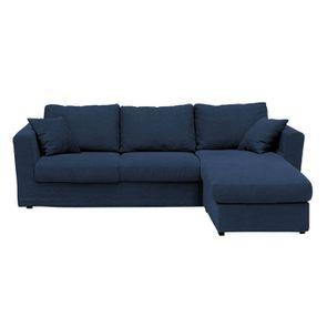 Housse pour canapé d'angle 5 places en tissu bleu foncé - Boston