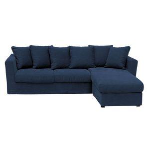 Housse pour canapé d'angle 5 places bleu en tissu - Boston