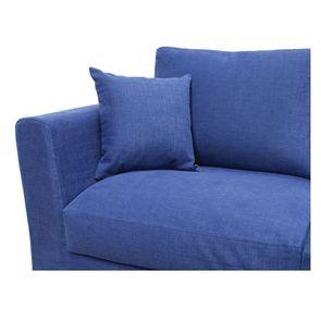 Housse pour canapé d'angle 5 places en tissu bleu - Boston