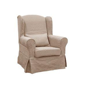 Housse pour fauteuil en tissu écru - Claridge