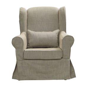 Housse pour fauteuil en tissu Beige Naturel - Claridge