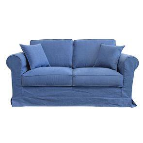 Housse pour canapé 2 places en tissu bleu - Crowson