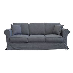 Housse pour canapé 4 places en tissu gris - Crowson
