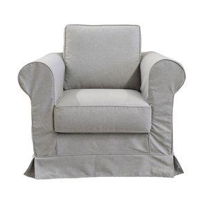 Housse pour fauteuil en tissu gris clair - Crowson