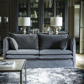 Housse pour canapé 3 places gris en tissu - Hampton