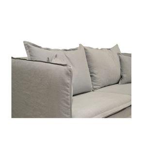 Housse pour canapé 3 places gris clair en tissu - Hampton