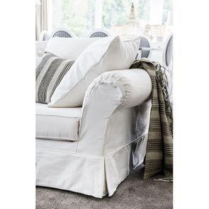 Housse pour canapé 3 places blanc en tissu - British
