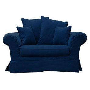 Housse pour fauteuil en tissu bleu foncé -British Love Seat