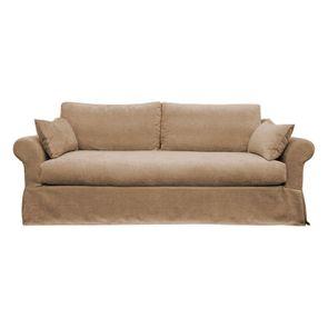 Housse pour canapé 3 places en tissu marron - Denver