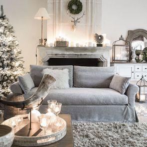 Housse pour canapé 3 places gris en tissu - Denver