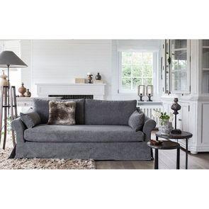 Housse pour canapé 4 places en tissu gris - Denver