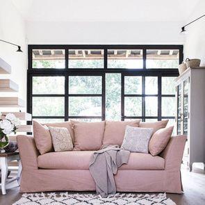 Housse pour canapé 3 places en tissu rose - Lismore