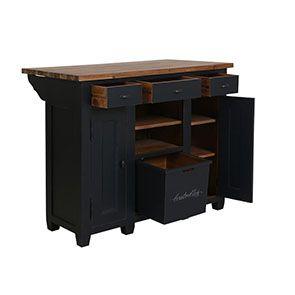 Meuble bar en pin massif noir graphite - Brocante - Visuel n°2